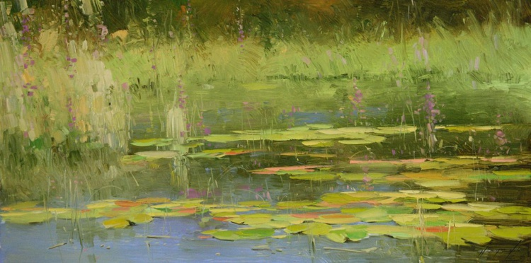 Water lilies Sunny Day Original oil Painting Large size Handmade artwork One of a kind - Image 0