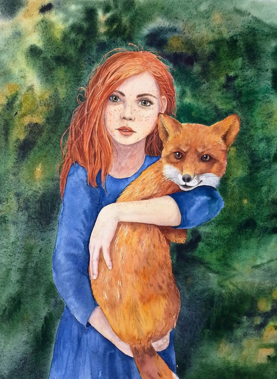 Ginger and Red - Cute red hair girl holding a fox - Image 0