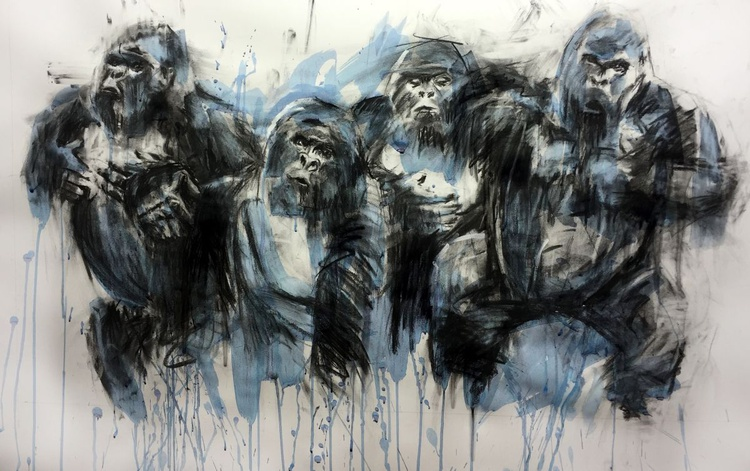 'Alpha', Gorilla in motion/jungle, Large format framed charcoal drawing/painting Indian Ink - Image 0