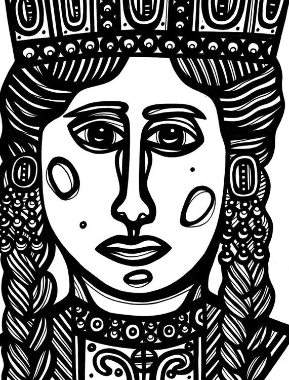 Regal Woman Crown Original Drawing - Image 0