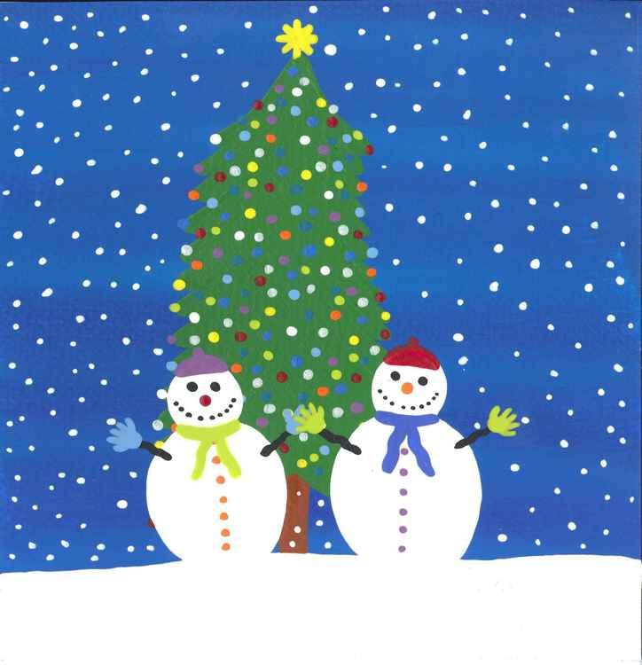 Snowmen at the Christmas tree -