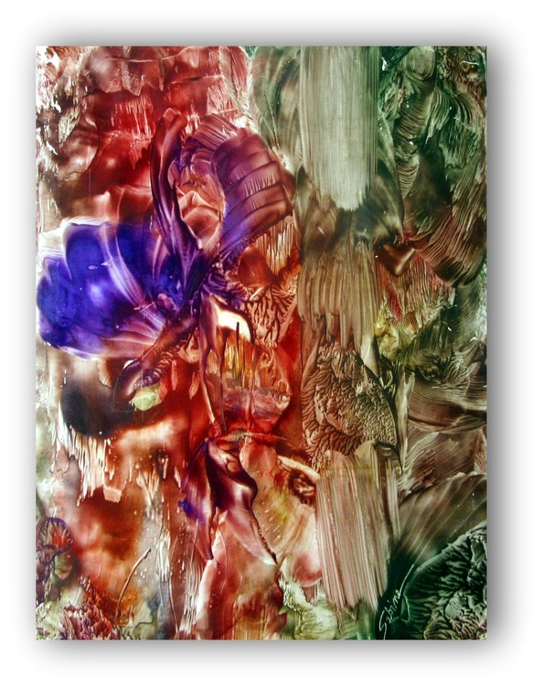 "16""x20"" Abstract Encaustic Painting ""Nature Abstracted #3"" - Image 0"
