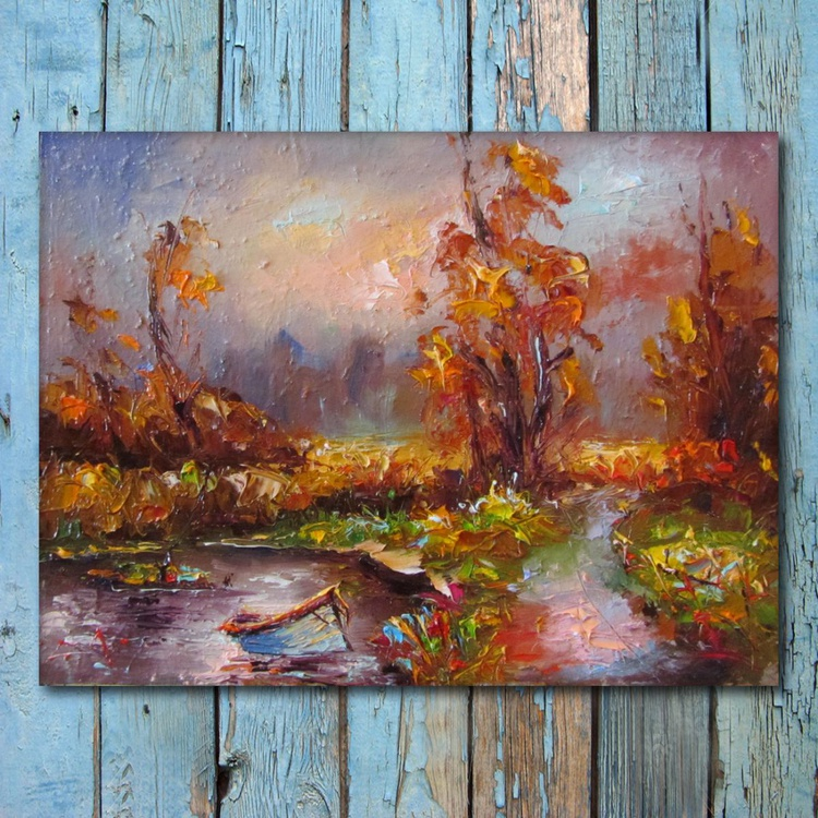 Walk in fall, landscape Oil painting, free shipping - Image 0
