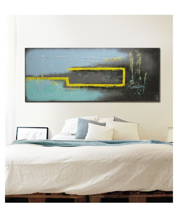 Abstract Painting - Turquoise Yellow City - C10 - Image 0
