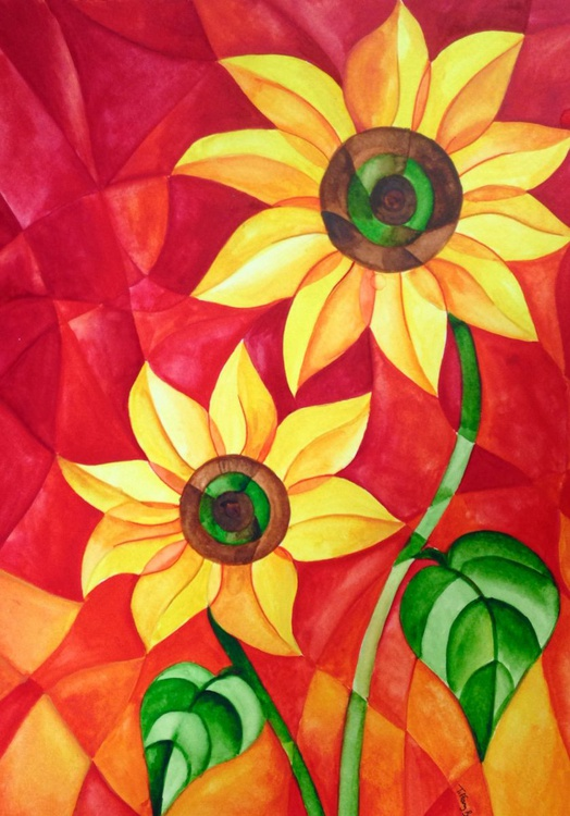Abstracted Sunflower Pair - Image 0