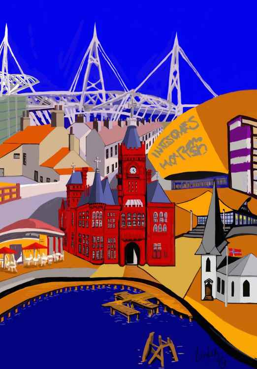 Cardiff Montage in Blue -