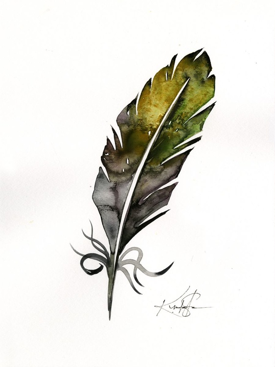 Watercolor Feather 4 - Abstract Feather Watercolor Painting - Image 0