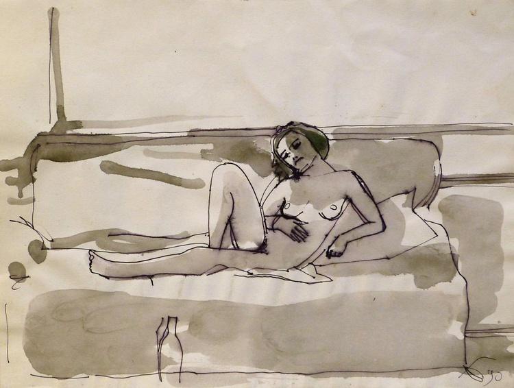 Nude on the sofa, 28x21 cm - Image 0