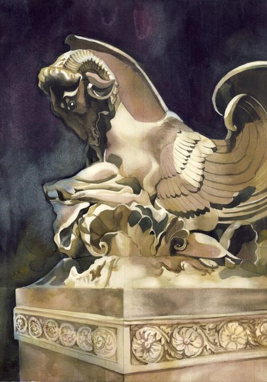 Ram sculpture watercolor - Image 0