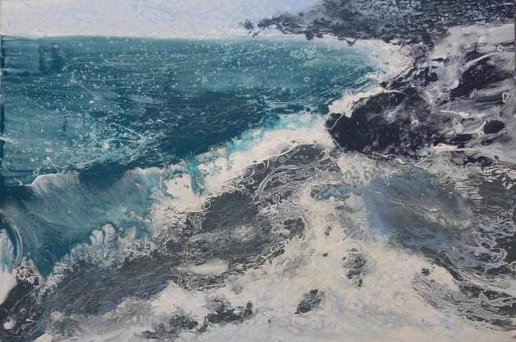 Sea foam, large painting 150x100 cm - Image 0