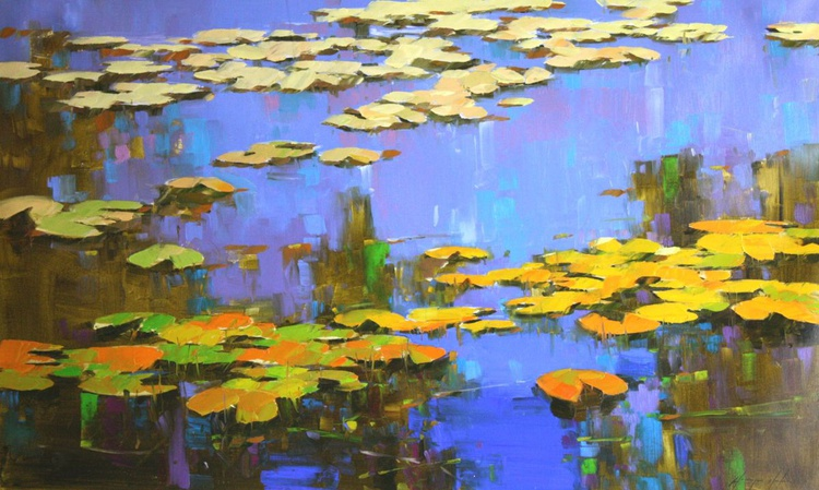 Water Lilies Handmade oil Painting One of a kind - Image 0