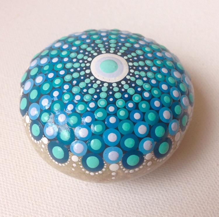 Blue Mandala on Natural Stone - Dotart style - Image 0