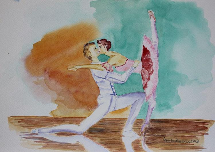 A Kiss In Ballet, romantic dance form, conceptual art, watercolor, gift - Image 0