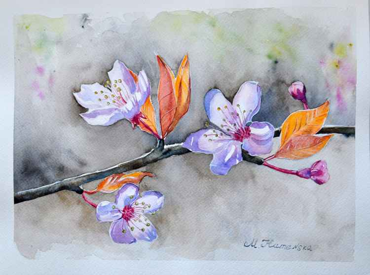 Original one of a kind watercolor artwork - Blooming tree branch -