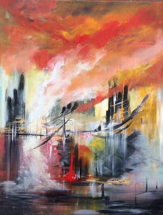 """Fantasyland ...."" ,  Large Abstract Acrylic Painting - 28x36inches - Image 0"