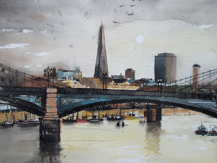 London, Battersea bridge whit Chelsea bridge and The Shard in background - Image 0