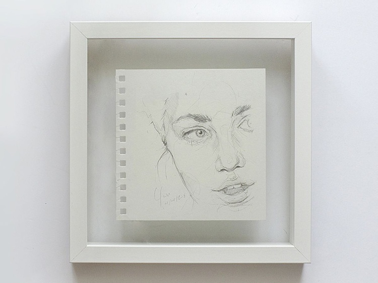 Framed Sketchbook Page - Untitled study in pencil #3 - Image 0