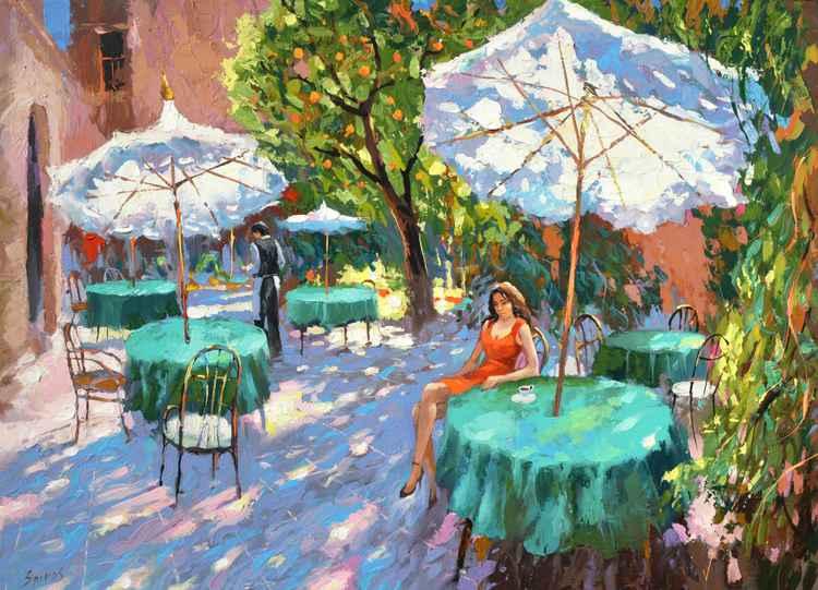One coffee, please - original paintings by Dmitry Spiros, 2015 - 2016