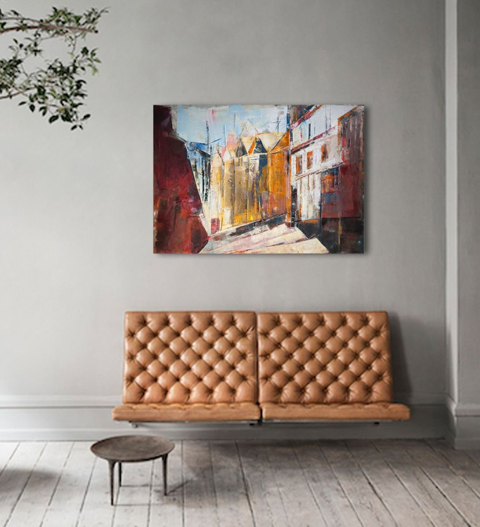 Canvas art 39.37/27.5 100/70cm. Interior city. - Image 0