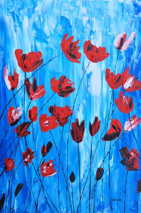 Poppies on Blue1 - Image 0