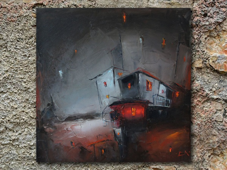 The lights of night, modern cityscape painting, free shipping - Image 0