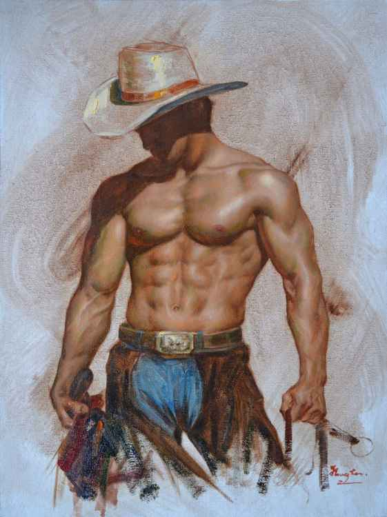 Original Oil paintingl art male nude cowboy  on linen  #16-4-4-03 -