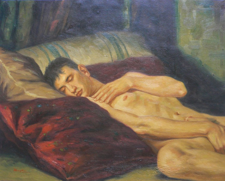 ORIGINAL OIL PAINTING  GAY ARTWORK  MALE NUDE SLEEPING ON BED ON LINEN#16-7-10 - Image 0