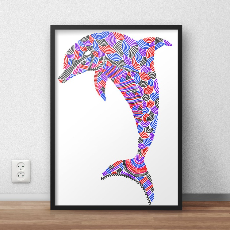 Hyper Detailed Colourful and Vibrant Dolphin Digital Print Decor for Home or Nursery - Image 0