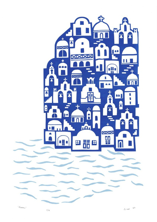 """Santorini"" - Unframed - FREE Worldwide Delivery - Image 0"
