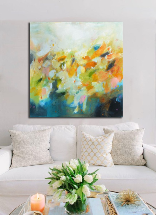 Approaching Spring in the Garden of Delights - pink, blue and green abstract painting, abstract floral art, abstract landscape - Image 0
