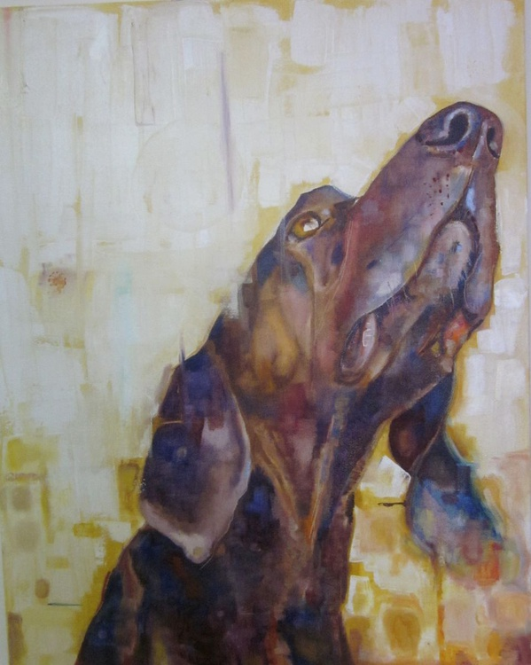 Hound dog Original Oil painting on Canvas  - Image 0