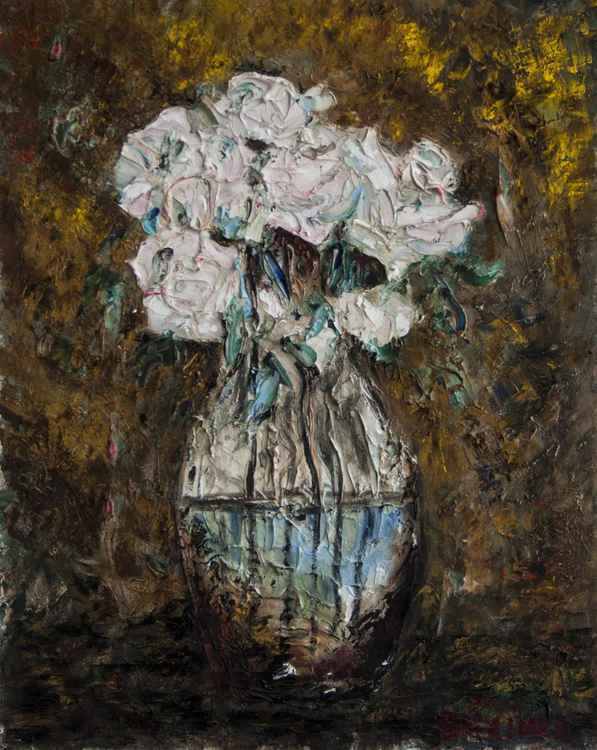 Gold Still Life with white roses (Gold on white). -