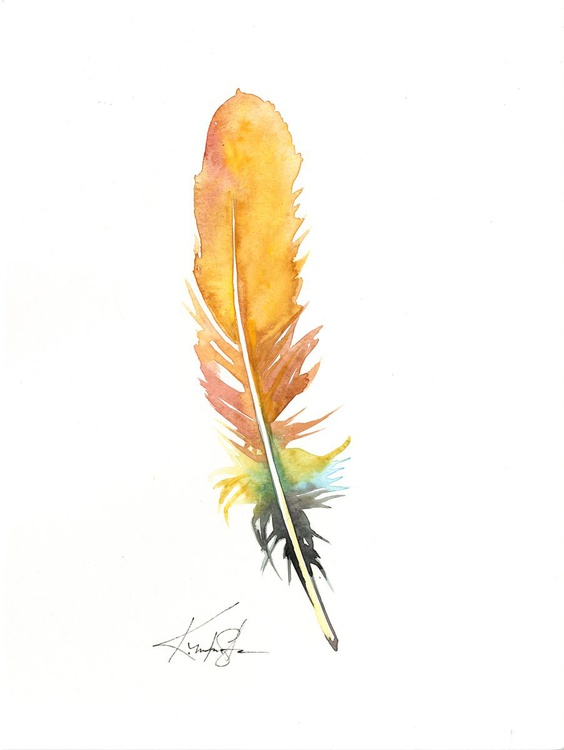 Watercolor Feather 3 - Abstract Feather Watercolor Painting - Image 0