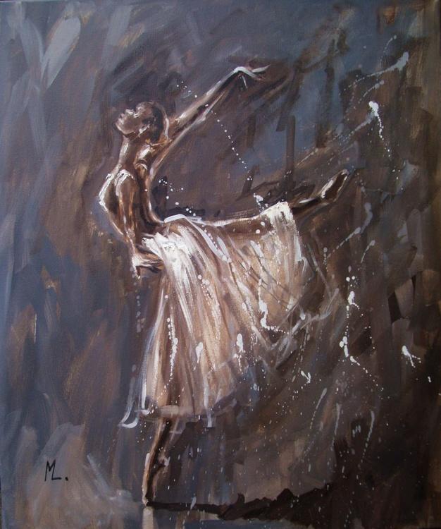 """ MAGIC OF BALLET ""- ballerina brown lihgt  ORIGINAL OIL PAINTING, GIFT, CHRISTMAS - Image 0"