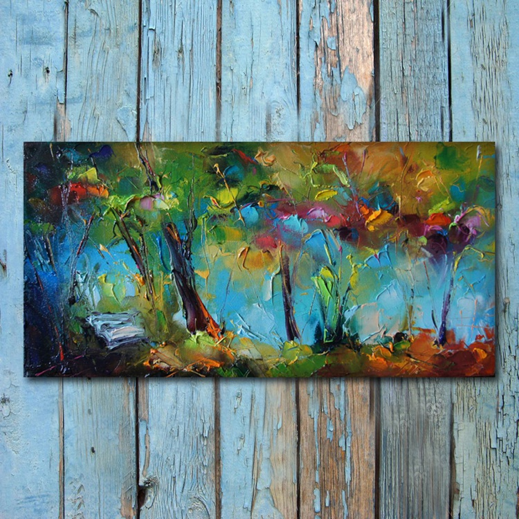 Meeting with spring, Oil painting on canvas, free shipping - Image 0