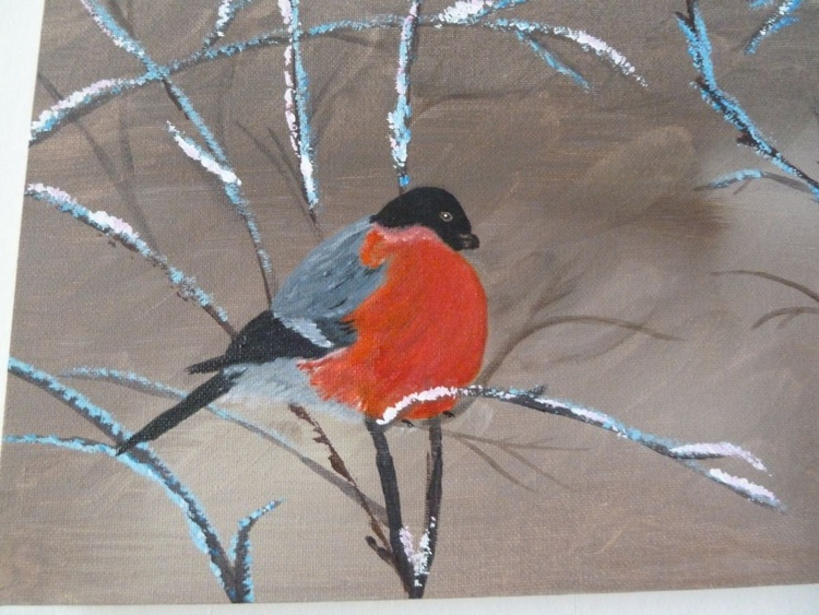 Bullfinch. Acrylics on canvas - Image 0