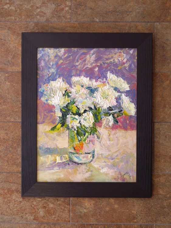 White Chrysanthemums (palette knife), framed - Image 0