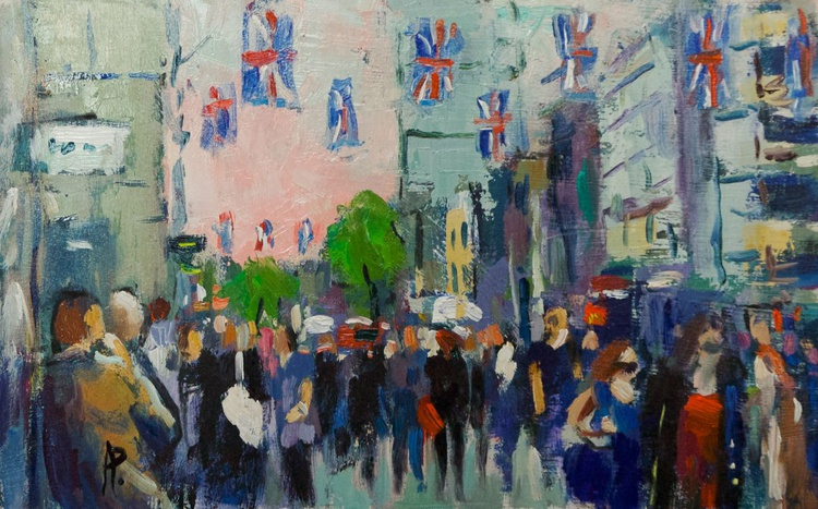 Oxford Street with Flags - Image 0