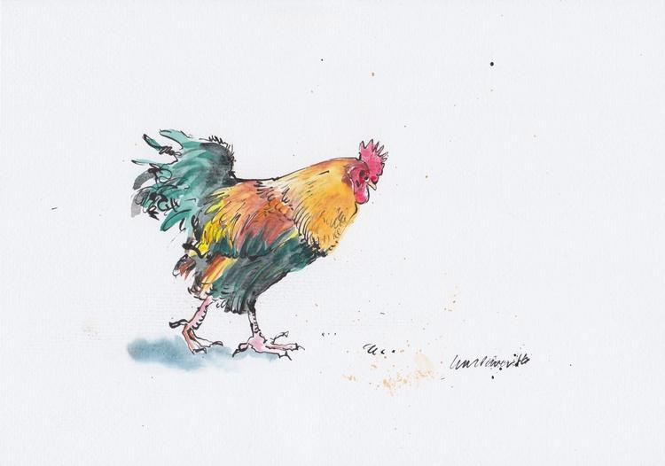 Striding Cockerel, daily Bird #24 - Image 0