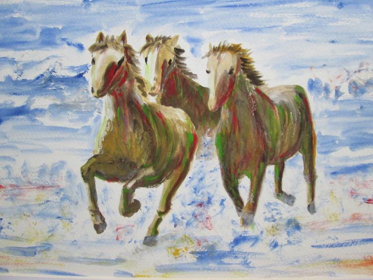 """RUNNING HORSES"", horse, pony, sea, coast, original gouache painting 35.5x27cm paper, image 12x8inch - Image 0"