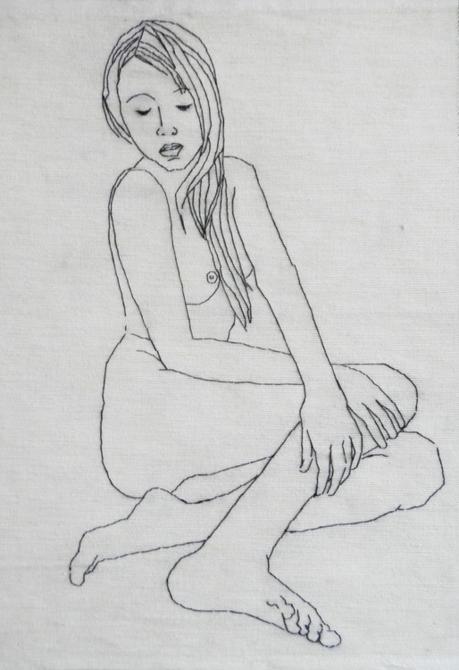 Embroidery Art Original Hand Embroidered Female Nude Life Drawing Figure Study - Image 0