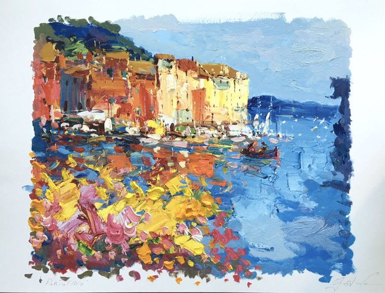 Portofino Italy Painting Seascapes Pictures Art Crafts Landscape Art Paper Living Room Wall Decor Bedroom Decor Gift for Mom Gift for Her - Image 0