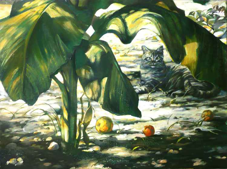 Cat with banana leaves -