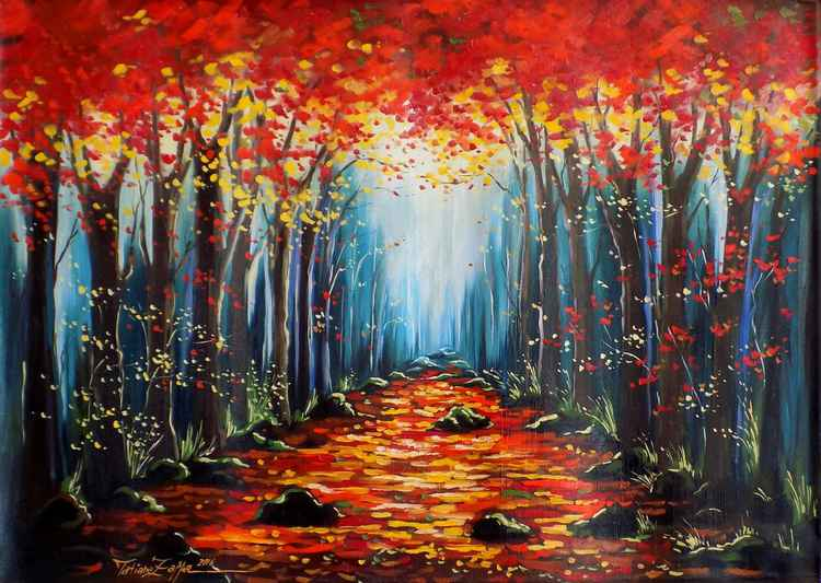 Red forest - 92×65cm - 36.2x25.6in