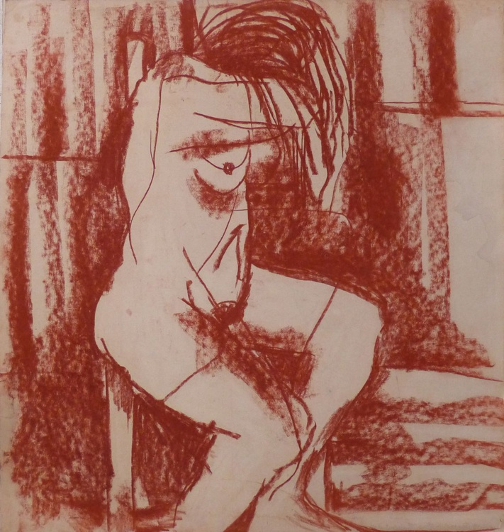 Nude in red, pastel on paper 50x47 cm - Image 0