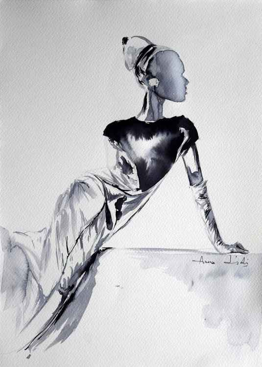 Fashion in ink I / Series of ink painting on paper -
