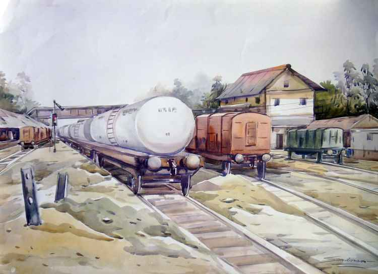 Wagon Railway-Watercolor on Paper -