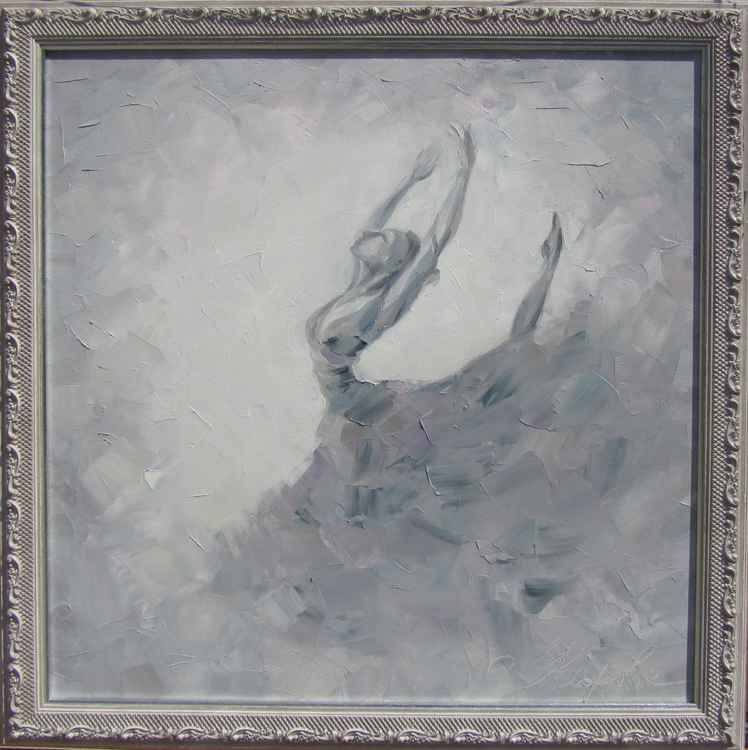 Ballerina, original oil painting, framed, 70x70 cm, FREE SHIPPING