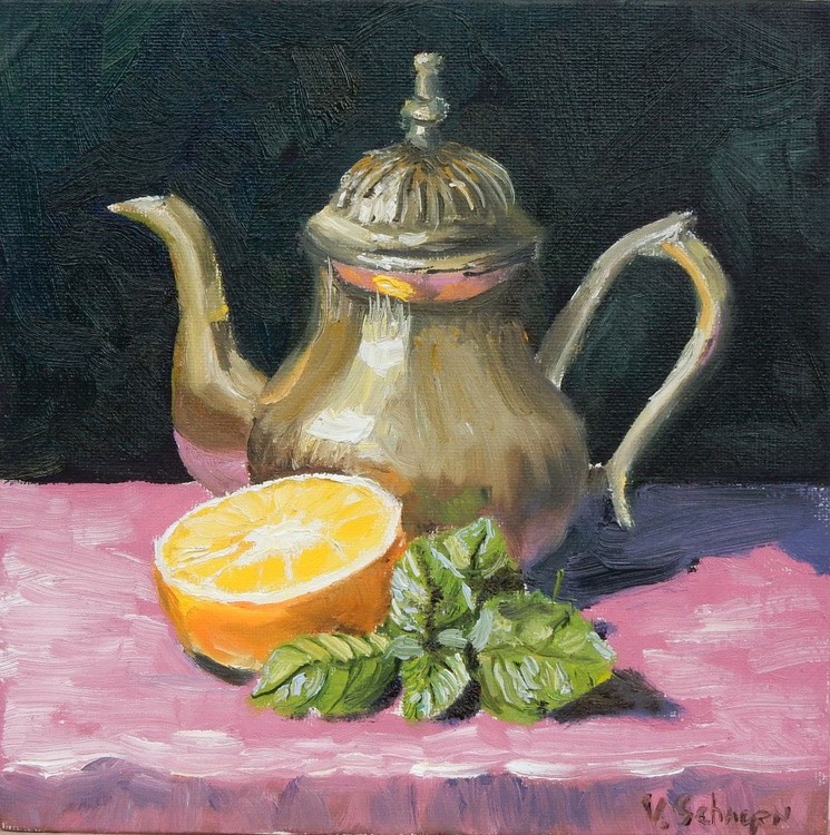 Tea pot with orange. still life - Image 0