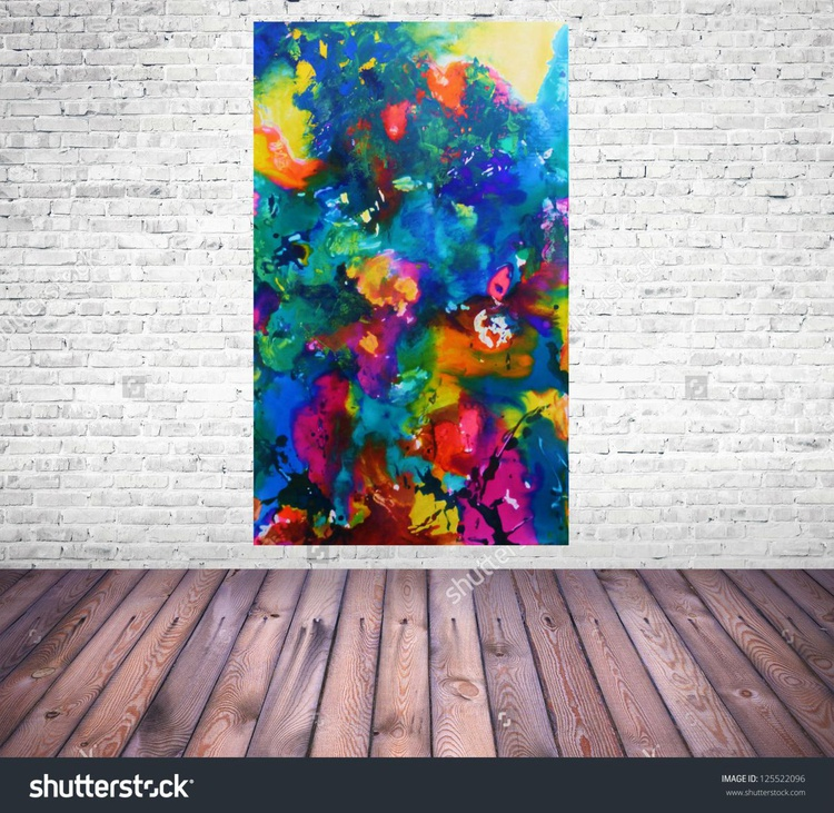 Behind the glas,  Modern Painting, 100x60cm - Image 0
